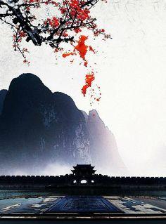 Sakura Painting, Japan Painting, Beautiful Fantasy Art, Beautiful Artwork, Beautiful Pictures, Art Asiatique, China Art, Fantasy Landscape, Chinese Painting