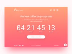 Coming soon llI notify coffee button countdown template landing page web ui ux Website Coming Soon, Coming Soon Page, Countdown Clock, Countdown Timer, Page Design, Design Blogs, Ux Design, Graphic Design, Website Layout