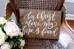 In Christ Alone My Hope is Found Sign, Farmhouse Home Decor, Rustic Wooden Home Decor, Bible Verse Sign, Gift by MulberryMarketDesign on Etsy (null)