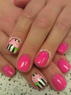 Summer pink, rose nails
