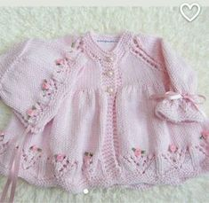 Hand Knit Cotton Baby Set by jayceeoriginals on EtsyLace baby jacket (knit with crLace cardi & matching hat with ribbon embroidered roses ~~ jaycee originalsThis Pin was discovered by AylDiscover thousands of images about Hirka Sweater Knitting Patterns, Knitting Designs, Knit Patterns, Knitting For Kids, Crochet For Kids, Hand Knitting, Knitted Baby Cardigan, Knitted Baby Clothes, Baby Set