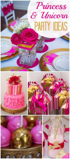 Check out this pink and gold princess and unicorn birthday party! See more party ideas at CatchMyParty.com!