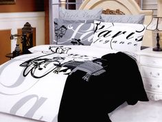 Paris Themed Bedding | Paris Themed Bedding in Black and White: Eiffel Tower Bedding Set ...