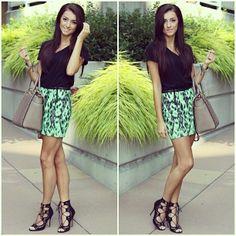 That skirt! It's like neon chocolate chip mint ice cream