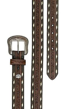 113b4103a2 Cavender s Men s Brown Floral Embossed with Bone Laced Edge Leather Belt