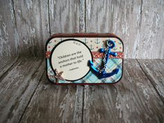 Items similar to Altered Altoids® Tin, Table or Desk Top Mini Scrapbook Album, Graphic Mom/Grandma Album, By the Sea, Gathering Seashells on Etsy Altered Tins, Altered Art, Altoids Tins, Atc Cards, Green Butterfly, Graphic 45, Alters, Paper Crafts, Desk