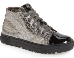 metallic shoes for kids | silver Naturino high tops