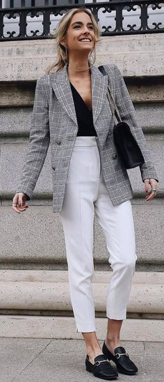 casual office style addict : plaid blazer + top + bag + white pants + loafers