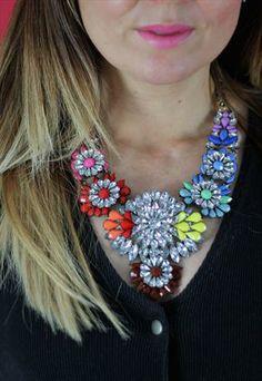 Oversized Multi Colour Diamante Statement Necklace