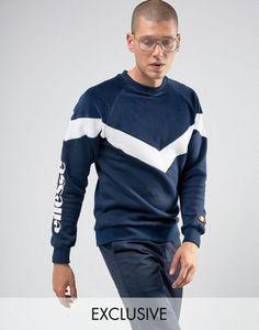 Ellesse Velour Chevron Sweatshirt In Navy