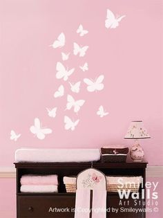 "(Please click on the picture to see it in a larger version.) These Butterflies vinyl decals comes with 4 different kinds of butterflies. The decal pack includes 16 butterflies: The biggest butterfly measures 5.6"" x 5.5"" The smallest butterfly measures: 2.7 x 2.6 The whole design in the"