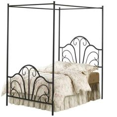 The Dover Canopy Bed Set by Hillsdale is transitional in style, yet boasts traditional design elements to give it an exciting modern look. It features a classic scroll metalwork pattern in the headboard and footboard and an open framed canopy. Full Size Canopy Bed, Canopy Over Bed, Queen Canopy Bed, Metal Canopy Bed, Metal Beds, Canopy Beds, Full Bed, Wooden Canopy, Hotel Canopy