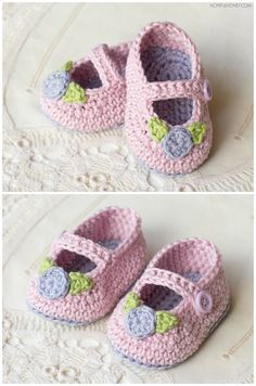 Mary Jane Rosebud Baby Booties - link to FREE PATTERN; 0-6 Mo and 6-12 mo sizes