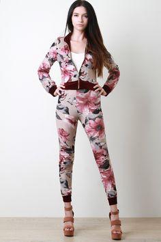 Velvet Floral Jacket With High Waisted Pants Set