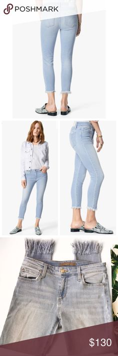 ➡Joe's Jeans the Icon Mid-rise Skinny Crop Jeans⬅ The Majorie Icon. A true denim darling. A midrise crop in a lightly bleached, stretch denim with an extreme frayed hem.  78% cotton, 18% modal, 3% T400, 1% elastane. Joe's Jeans Jeans Ankle & Cropped