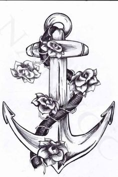 flower tattoo around an anchor - Google Search