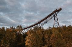 Abandoned Winter Olympic venues  This ski jump in Murmansk, Russia was part of an Olympic training facility. The rickety wooden structure ...