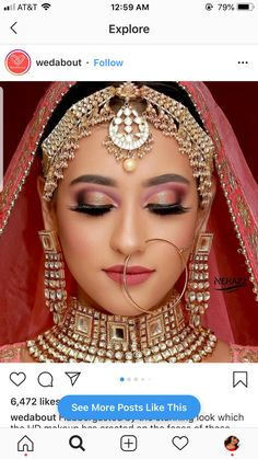 Pin By Sanam Mahtani On Red Bridal Makeup In 2019 Wedding Hypothetically, normal makeup should Bridal Makeup Images, Best Bridal Makeup, Bridal Makeup Looks, Bride Makeup, Bridal Looks, Bridal Style, Indian Bridal Photos, Indian Bridal Outfits, Indian Bridal Fashion