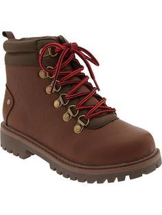 Old Navy Boys Faux Leather Hiking Boots Size 3 - Brown leather  d5b45f8eae3