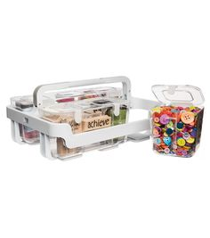 Stackable Caddy Organizer, Plastic Containers With Lids, Plastic Container Storage, Storage Containers, Nail Swag, Be Organized, Acrylic Tube, Lego, Plastic Organizer, Craft Organization