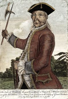 """I don't really have a history board. I love this picture: The Brave Old Hendrick the great sachem or chief of the Mohawk Indians""""; Hendrick Theyanoguin (c1691-1755), published in London in 1755, based on an earlier lost portrait."""