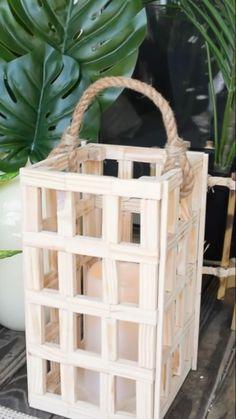 Diy Crafts For Home Decor, Diy Crafts To Do, Diy Arts And Crafts, Wood Crafts, Dollar Tree Decor, Dollar Tree Crafts, Block Craft, Lanterns Decor, Diy Lantern