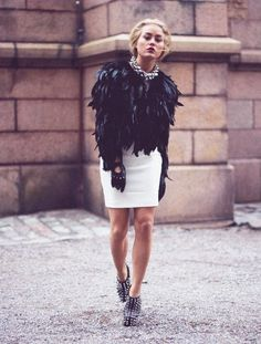 Angelica Blick street style:Feather jacket from Topshop, Dress from Zara, Shoes from Jeffrey Campbell, Gloves from Primark, and Necklace fr...