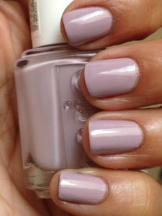 """Essie Pilates Hottie is described as """"a zen light lilac"""". Pilates Hottie is a muted greyed out lilac creme. Beautiful with two coats."""