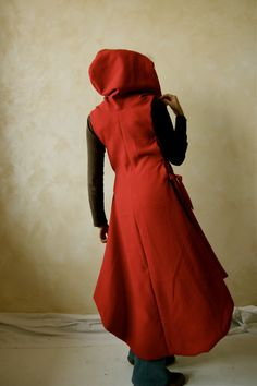 Red Hooded Cape Red coat wool dress Medieval Tunic by LoreTree