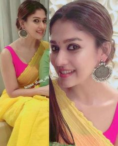 Nayanthara earrings Saree Blouse Patterns, Saree Blouse Designs, Indian Party Wear, Indian Wear, Bridesmaid Saree, Saree Jewellery, Drape Sarees, Simple Sarees, Ethnic Hairstyles