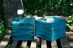 sweet end tables for the patio! maybe can make with my old fence boards