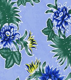 Oilcloth Alley's Blue Tropical Oilcloth Fabric ~ Sold by the yard. We also make Tablecloths and Bags to your size specifications too! www.oilclothalley.com