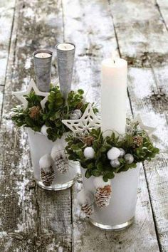 White Christmas Candles and White Stars. White Christmas Candles and White Stars. Source by acraftedpassion Christmas Candle Decorations, Christmas Candles, Noel Christmas, Winter Christmas, All Things Christmas, Christmas Crafts, Christmas Ornaments, Winter Porch, Christmas Arrangements