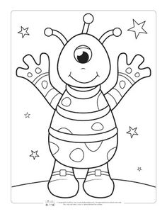 Space Coloring Pages for Kids – Itsy Bitsy Fun - Kosmos Space Coloring Pages, Monster Coloring Pages, Coloring Sheets For Kids, Animal Coloring Pages, Printable Coloring Pages, Coloring Pages For Kids, Coloring Books, Kindergarten Coloring Pages, Fairy Coloring