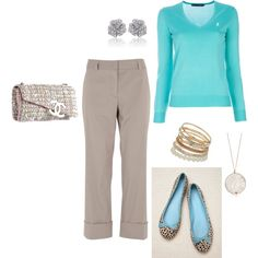 Hmmm... I never think about wearing blue and gray but I like it!