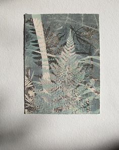 Small original fine art botanical monoprint. Fern leaf printed in teal aqua blue and black on cream paper. Edwardian Arts & Crafts inspired