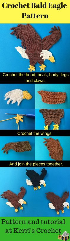 Learn how to crochet this bald eagle with my crochet pattern and video tutorial at Kerri's Crochet.