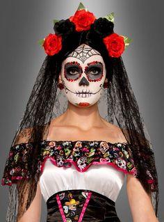 Day Of The Dead Black Veil w Flowered Headband Día de la cabeza muerta 74922 Sugar Skull Kostüm, Adult Costumes, Costumes For Women, Dead Bride Costume, New Safari, Pirate Woman, Lady Pirate, Pirate Wench, Face Photo