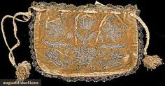 Silver Embroidered Velvet Purse, Italy, 1680-1700, Augusta Auctions, November 2009 Museum Fashion & Textile Sale, Lot 188