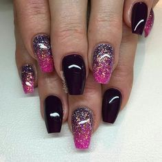 """""""""""Purple Passion"""" med glitterombre i lila och rosa"""" Get Nails, Love Nails, Hair And Nails, Gorgeous Nails, Pretty Nails, Pink Black Nails, Pink Glitter, Almond Acrylic Nails, Nail Blog"""
