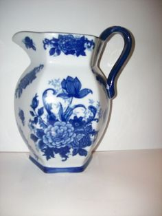 Cobalt Blue Floral Pitcher Wall Pocket Delft Style 8 Inches in Pottery & Glass, Pottery & China, Art Pottery | eBay