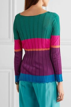 Etro - Striped Ribbed Jersey Top - Purple - IT42