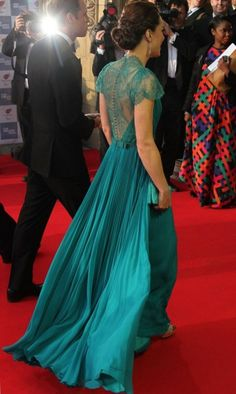 Kate Middleton in teal colored Jenny Packham dress and Jimmy Choo shoes: Is this the best Kate Middleton dress ever?