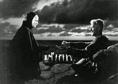 """The Seventh Seal (""""Det sjunde inseglet""""), maybe the most famous movie directed by the Swede Ingmar Bergman in Starring Max von Sydow. Did you know that you will be able to see Bergman's face on one of the Swedish bills in a couple of years? Sigmund Freud, Martin Scorsese, Alfred Hitchcock, Stanley Kubrick, Cinema Art, Swedish Men, Max Von Sydow, The Seventh Seal, Ingmar Bergman"""