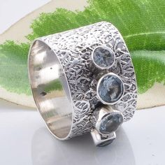 925 STERLING SILVER BLUE TOPAZ CUT RING JEWELRY 5.29g R01487 #Handmade #RING