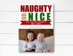 Naughty or Nice Christmas Card, Christmas Photo Card, Holiday Photo Card, Funny  Christmas