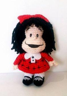 mafalda amigurumi Crochet Home, Free Crochet, Crochet Baby, Knit Crochet, Crochet Patterns Amigurumi, Amigurumi Doll, Crochet Dolls, Paper Mache Crafts, Yarn Crafts