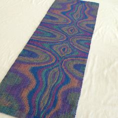Psychedelic Tapestry Purple Hand Woven Table by LoomOnTheLake