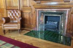 "6""x2"" olive hearth tiles Fireplace Hearth Tiles, Tile Around Fireplace, Wood Burner Fireplace, Brick Hearth, Fireplace Surrounds, Fireplace Ideas, Tiles London, London Brick, Victorian Tiles"