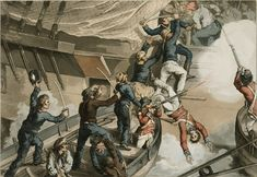 British Sailors Boarding a Man of War - This print represents the recapture of the British 'Hermione' in Puerto Cabello, Venezuela, by boats of the 'Surprise'. Man Of War, Naval History, Royal Marines, Maritime Museum, American War, Napoleonic Wars, Tall Ships, Royal Navy, American Revolution